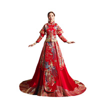 Chinese Dress Women Bride Wedding Cheongsam Traditional Qipao Pattern Oriental Robe Mariage Chinoise Red Qi Pao Antiques Vintage