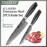 XINZUO 2 PCS Kitchen Knife Set High Carbon VG10 Chef Utility Knives 67 Layers Japanese Damascus Stainless Steel Pakkawood Handle