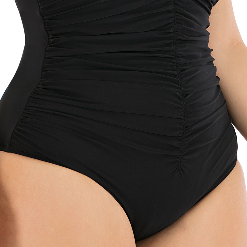 2020 New Solid Black Pleated Large Size 6XL One Piece Swimsuit Women Sexy Backless Plus Big XXL Swimwear Slim Beach Bathing Suit 4