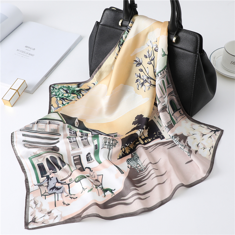 Cute Animal Print Scarf For Lay Hair Band Foulard Girl Neck Scarves Accessories Fashion Silk Square Shawls And Wraps 2020 New