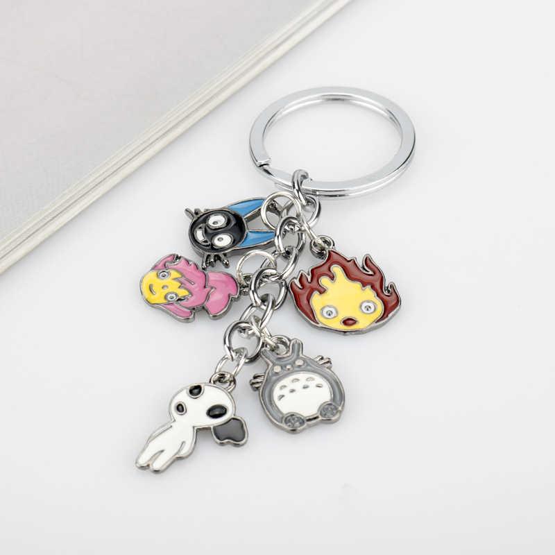 אנימה מיאזאקי הייאו איור Keychain חמוד שלי השכן Totoro Chinchilidae קוספליי מפתח שרשרת מפתח טבעות המסע מופלא Kaonashi מפתח