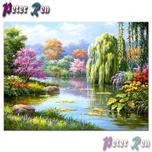 5d приозерный пейзаж Весенняя картина вышивка крестиком сделай