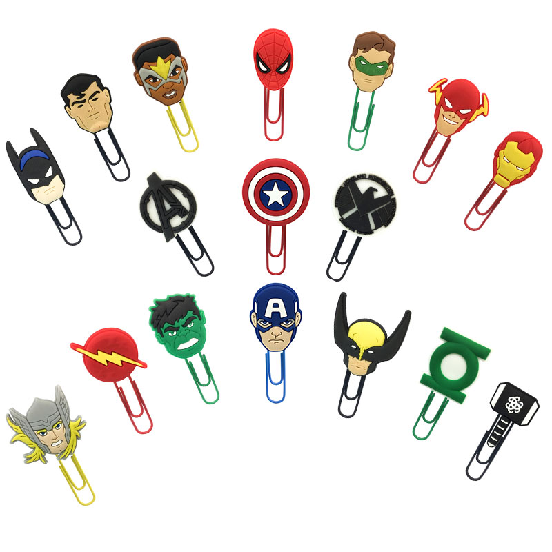 50pcs Avenger PVC Bookmarks Superhero Paper Clips School Office Supply Page Holder Stationery For Teacher Student Gift To Friend