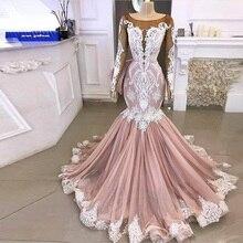 Vintage rubor sirena vestidos de novia con manga larga 2020 cuello transparente Aplicación de encaje y perlas árabe vestido de novia Civil