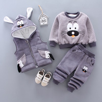 Kids Winter Clothes Sets Suits For Boy Thick Warm Cartoon Coats Vest Pants 3Pcs/Sets Baby Outfit Casual Toddler Infant Clothing