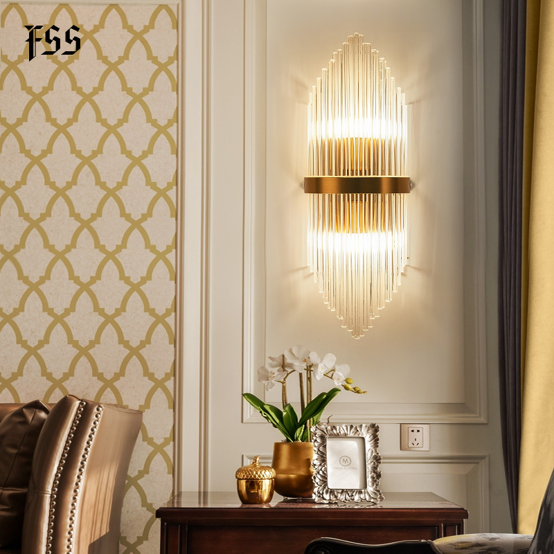 Fss modern gold glass wall sconce wall light bedside for bedroom wall lights living room led home lamp bathroom light fixtures|LED Indoor Wall Lamps| |  - title=