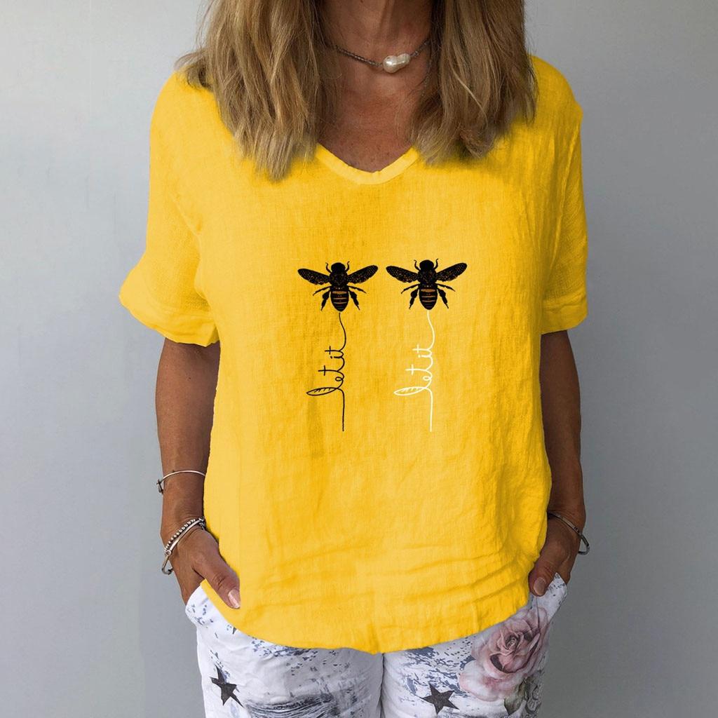 Feitong женская футболка с коротким рукавом с принтом пчелы и v-образным вырезом, свободная повседневная женская футболка