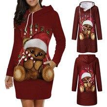 Женское платье, модное, для отдыха, с рисунком карты, с длинным рукавом, с капюшоном, с О-образным вырезом, рождественское, Санта Клаус, женское, Осень-зима, вечерние платья M840