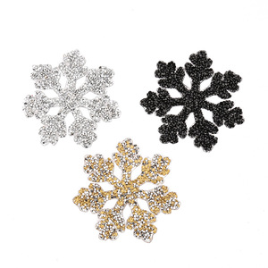 Snow Christmas Appliques Beaded 3D Patches for Clothing Iron on RHinestone Diamond