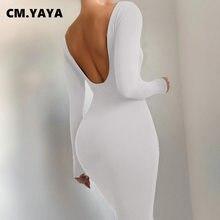 CM.YAYA-Vestido largo de primavera y otoño para mujer, traje Elegante de manga larga con cuello redondo y espalda descubierta, longitud hasta el tobillo, 2021