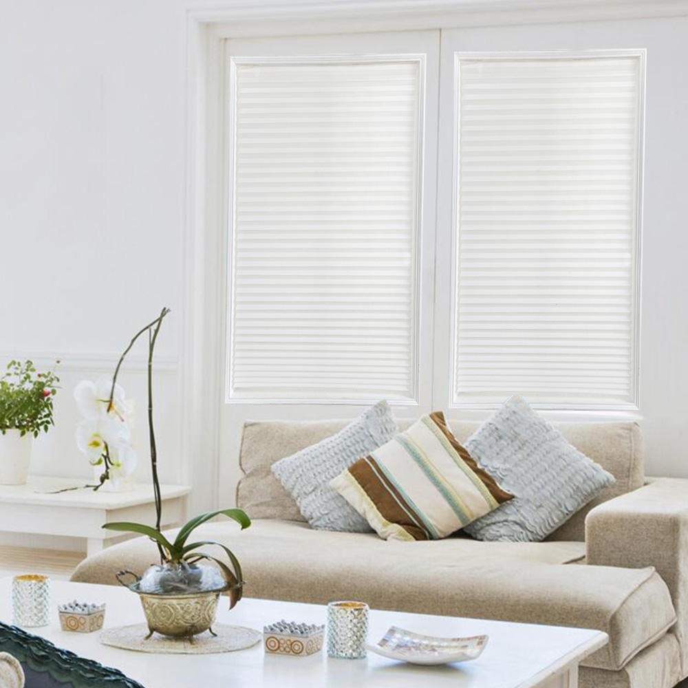 Self-Adhesive Pleated Blinds Curtains Half Blackout Windows Curtain For Bathroom Balcony Shades For Living Room Window