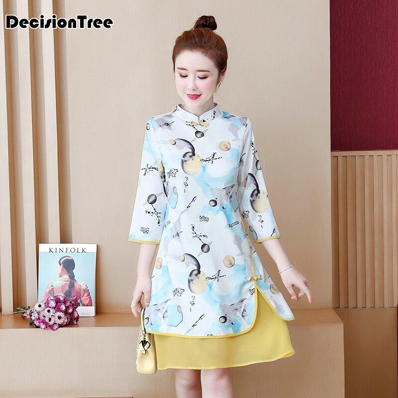 2020 Vintage Woman Cheongsam Dress Retro Traditional Chinese Style Lace Long Sleeve Qipao Elegant Oriental Year Evening Dress