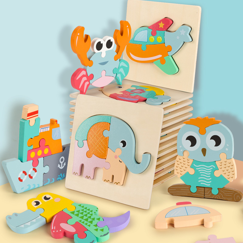 Baby 3D Wooden Puzzle Educational Toys Early Learning Montessori Toys For Kids Cartoon Grasp Intelligence Puzzle Wooden Toys