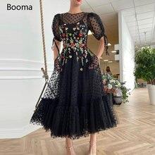 Черный в горошек из тюля вечерние платья с короткими рукавами