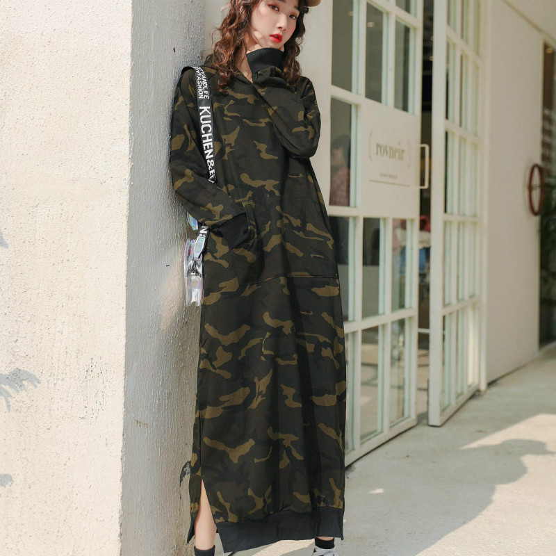 Extra Long Hoodies Dress Women Hot Antumn Winter Sweatshirt Ladies Camouflage Pullovers Coat Hooded Dress Plus Size Outerwear