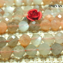 ONEVAN Natural Mixed Color Moonstone Faceted Beads Smooth Loose Round Stone Diy Bracelet Necklace Jewelry Making Gift Design onevan natural yellow jade faceted beads 6mm 8mm smooth loose round stone diy bracelet necklace jewelry making gift design