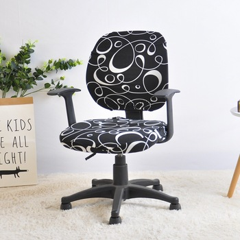 Computer Chair Cover Spandex Printed Office Chair Cover 2 Pieces Set for Chair Back and Base