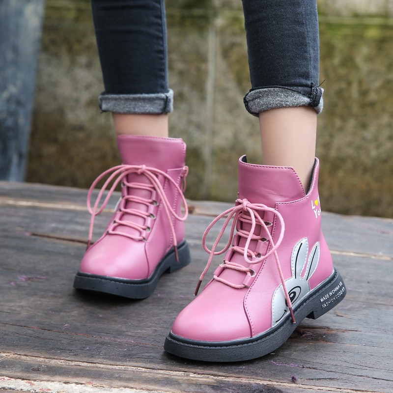 Image 5 - Winter Girls Boots 2019 New Spring British Fashion Girls Shoes Kids Cute Cartoon Leather Warm Plush Boots Litter Big Child BootBoots   -