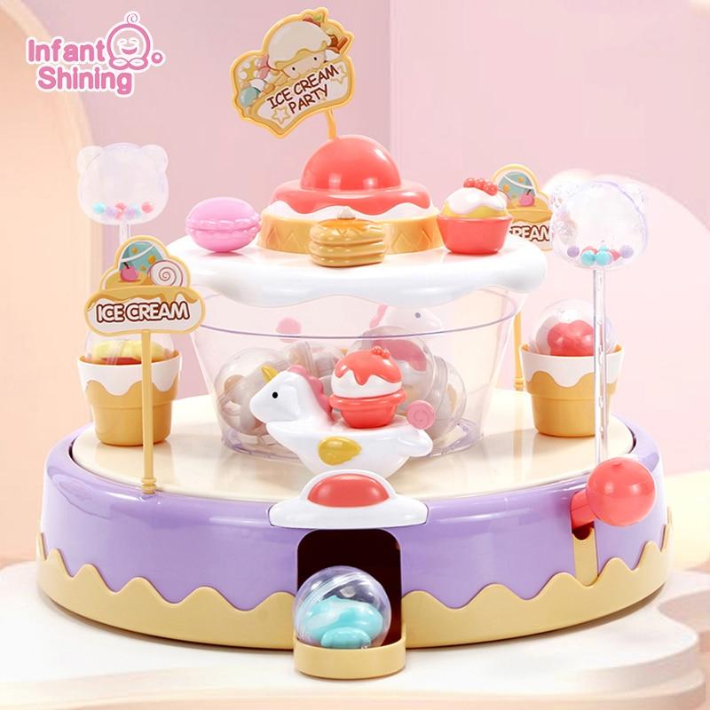 Infant Shining Children Capsule Machine Toys Ice Cream Candy Cake Children's Toys Children's Educational Model Christmas Gifts