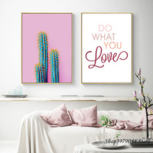 Cactus Decoracion Canvas Painting Wall Poster Nordic Pink Letter Art Cuadros Pictures For Living Room Unframed