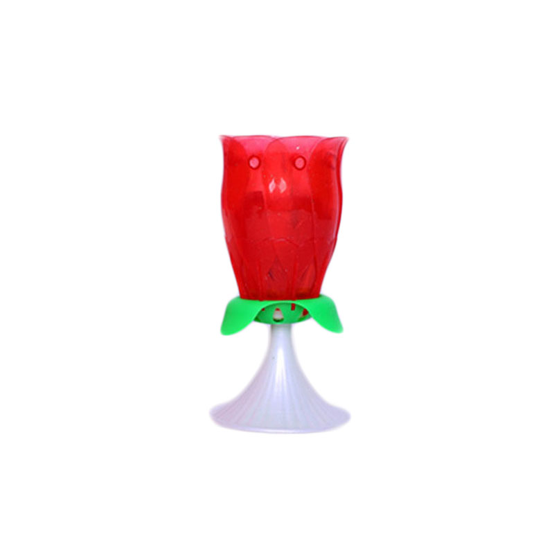 Beautiful Brithday Candles Lamp Musical Rose Rotating Double Layer Decoration