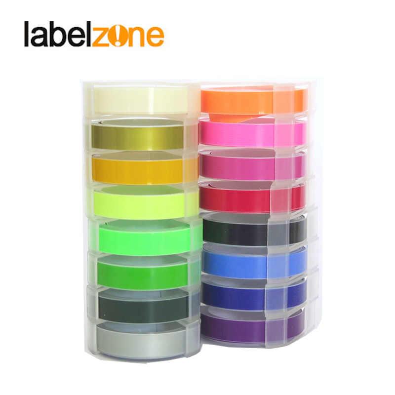 Colores mezclados 3D PVC estampado de cinta de etiquetas Compatible Dymo 1610, 12965, 1540, 1880 motex E-101 manual de la impresora de la etiqueta hecha a mano