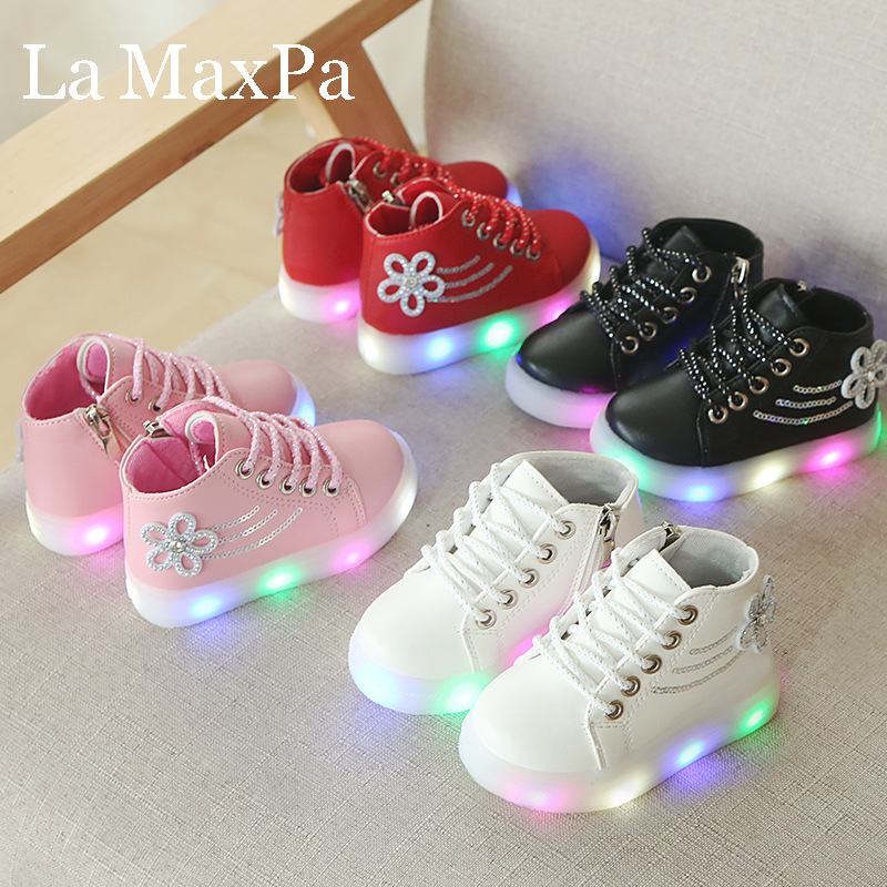 Size 21-30 Children's Led Sneakers Girls Glowing Kids Shoes For Girls Luminous Sneakers Baby Kid Shoes With Backlight Sole