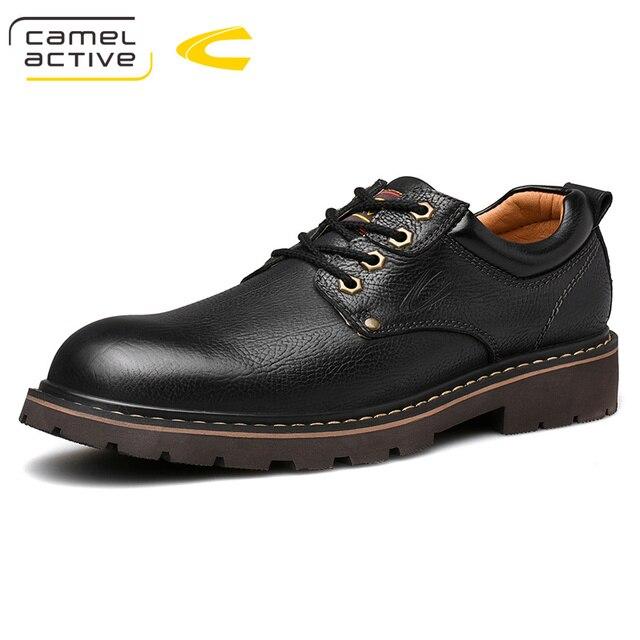 גמל פעיל חדש אנגליה אמיתי עור נעלי שרוכים גברים נעליים יומיומיות יד תפור עבה סולית גברים של נעלי נעלי גבר
