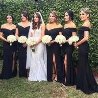Black Satin Simple Long Bridesmaid Dress Sheath Side Slit Long Brides Maid Dresses Plus Size Wedding Guest Gowns