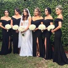 Black Satin Simple Long Bridesmaid Dress Sheath Side Slit Lo