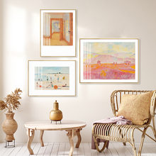 Абстрактный Пляжный Пейзаж картина маслом декор интерьера иллюстрации