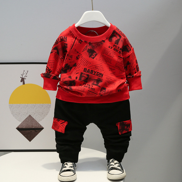 Baby Winter Autumn Clothes Sets Toddler Letter Outfits Children Boy Girl Sport Suit Kids 1 2 3 4 years Fall Clothing Wear 2