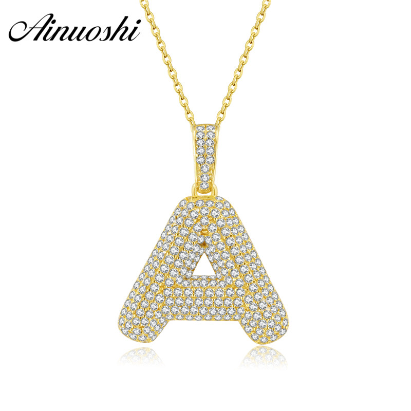 AINUOSHI Luxury Ice Out A To Z Alphabet Pendant 14K Solid Gold Simulated Diamond Charm 26 Initial Letters Pendant For Women Men