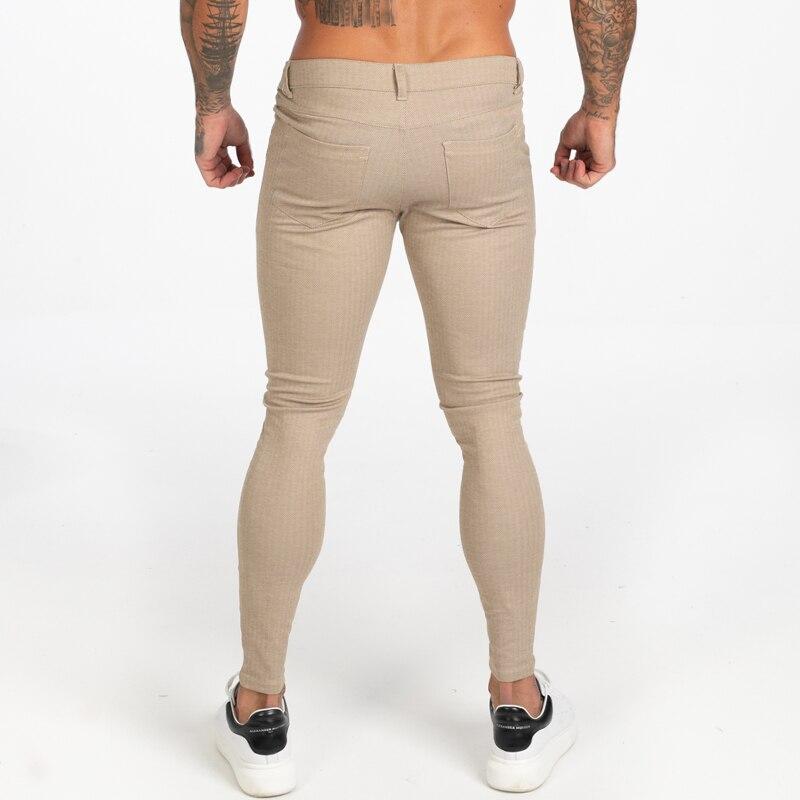 khaki chinos calças para homens calças elásticas