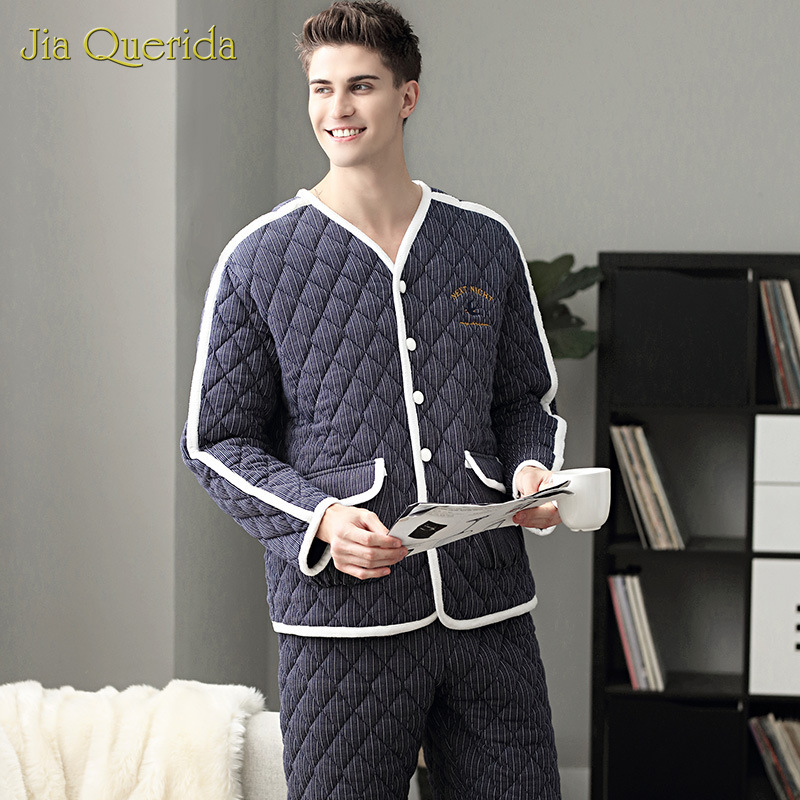 Winter Pijama Hombre Warm Home Clothing Luxury Striped Bird Letters Embroidery Chic Mens Pyjama 3 Layer Padded Cotton Velvet Pjs