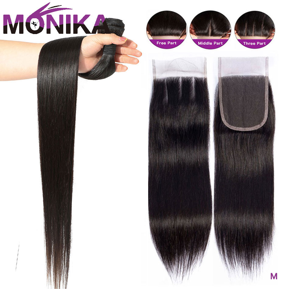 Monika Straight Hair Bundles With Closure Malaysian Hair 2 4 3 Bundles With Lace Closure Human Hair Weave And Closure Non-Remy