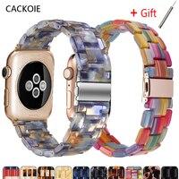 Correa de resina para apple Watch 6, 5, 4, banda de 42mm y 38mm, correa transparente para iwatch Serie 6, 5, 4, 3/2, pulsera de 44mm y 40mm