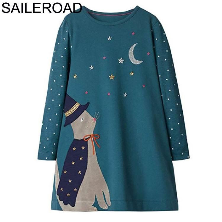 SAILEROAD Dinosaur Dress Girl Clothing Animal Appliques Cotton Girls Dresses for Kids Clothes Long Sleeve Princess Dress Unicorn 5