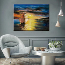 Picture Prints HD Canvas Painting Sunset in the river Boat Ship reflection Seascape Wall Art