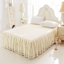 Three-layers Princess Lace Bed Skirt Solid Bed Skirt Soft Warm Ruffle Bed Cover Bedspread Mattress Full Twin Queen King Size