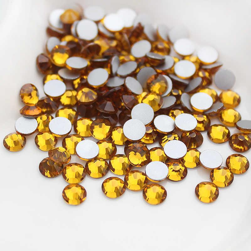 חם SS3-SS20 זהב צהוב ריינסטון לנייל אמנות 1440pcs Flatback ללא תיקונים דבק על ציפורן אמנות Rhinestones בוטיק ו למעלה כיתה