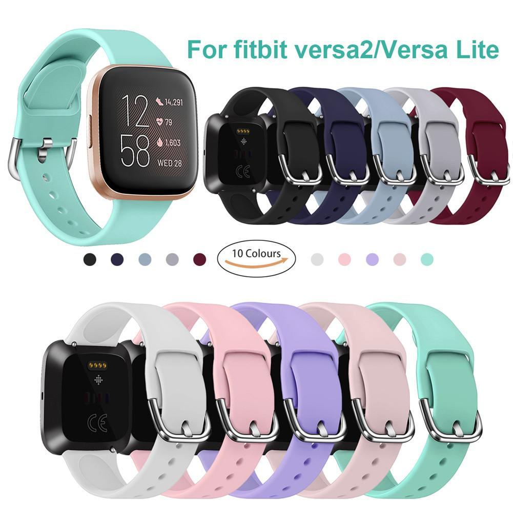 For Fitbit Versa 2 Band Silicone Watch Wristbands Straps Replacement Band For Versa Lite 6.7-8.1 Inch Smart Watch Bracelet