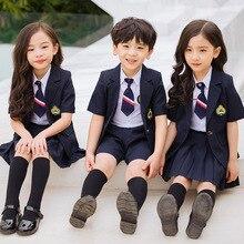 Костюм для детского сада; летняя одежда с короткими рукавами; Новинка года; Стильная летняя школьная форма в английском стиле для мальчиков и девочек