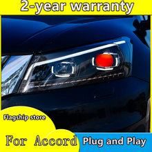 Auto Bumer Hoofd Licht Voor Honda Accord Koplamp Auto Accessoires Led Drl Hid Xenon Fog Voor Accord Koplamp(China)