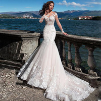 Jewel Long Sleeve Illusion Tulle Mermaid Lace Applique Wedding Dress with Button Sweep Train Flowers Bridal Dress