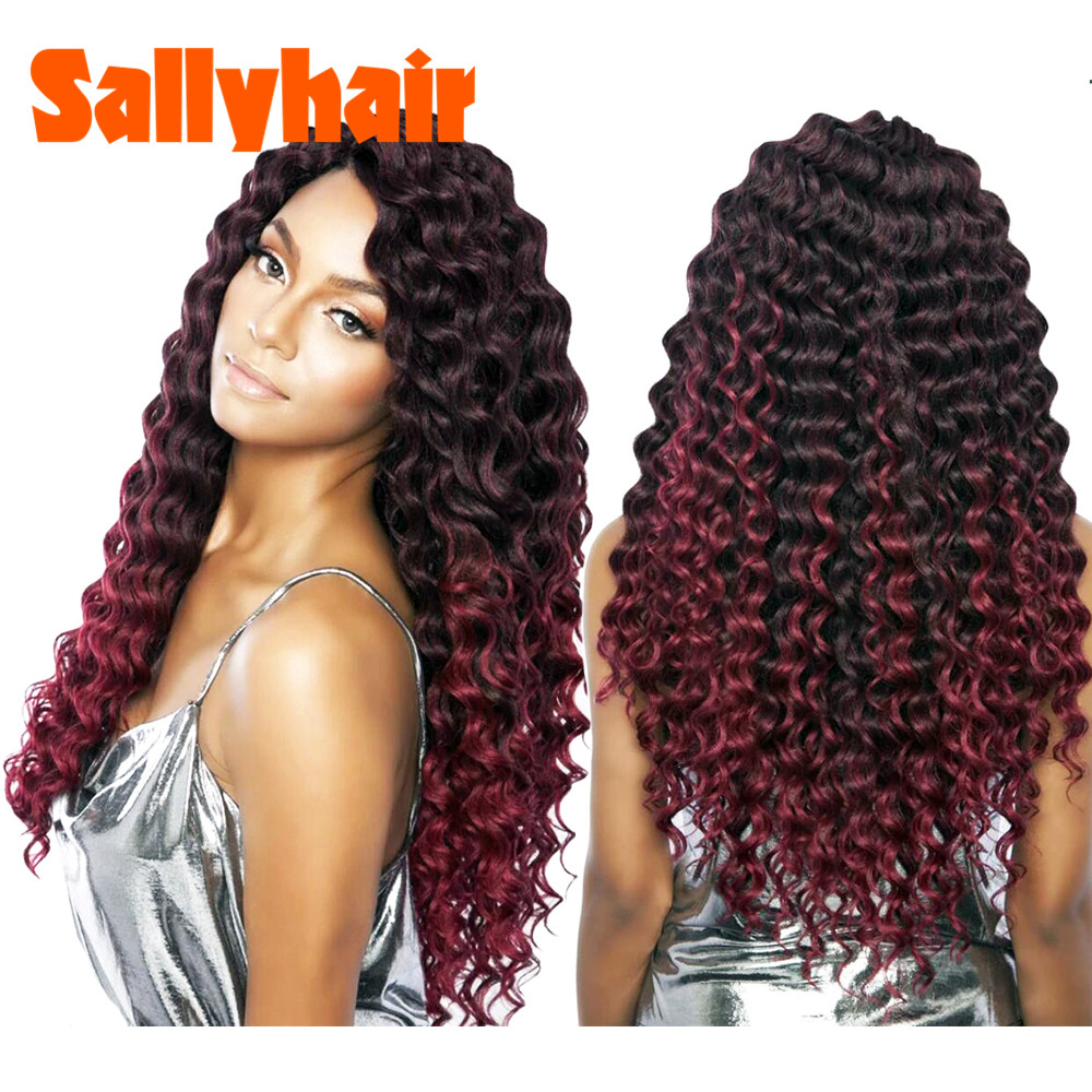 Crochet Braids Deep Wave Twist Ombre Braiding Hair Extensions Synthetic Bulk Hair Ombre Color Black Brown Blonde Burgundy