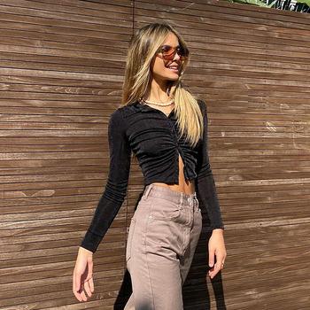 2021 Slim Ruched panie Sparkle koszule kobiety Sexy modna odzież zapinana na kołnierz brokat koszula z długim rękawem krótki Top tanie i dobre opinie hengsong CN (pochodzenie) POLIESTER REGULAR NONE Lato 2021 STANDARD Sukno Na wiosnę jesień Long Cropped Top z włókien syntetycznych