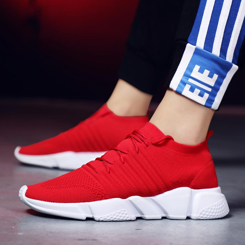 Stocking Sock Trainers Men Running <font><b>Shoes</b></font> Sports Sneakers for Men <font><b>Shoes</b></font> Sport Red Summer Jogging Race Arena Walking Fitness A-<font><b>361</b></font> image