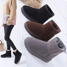 Зимние сапоги г. Женские зимние ботильоны корейская мода размера плюс, Нескользящие ботинки на плоской подошве, сохраняющие тепло женская обувь Botas mujer