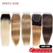 モーグル髪の色 2 ダークブラウン Remy 人間の毛髪のペルーストレートヘア 4*4 レースの閉鎖オンブル蜂蜜ブロンド自然な黒